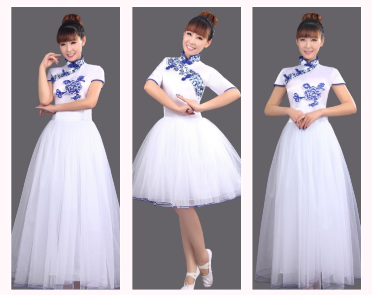 2016 New Blue and White traditional Costume Dress Suit Chinese Chorus Folk Style Classical Dance Costumes Dress(China (Mainland))