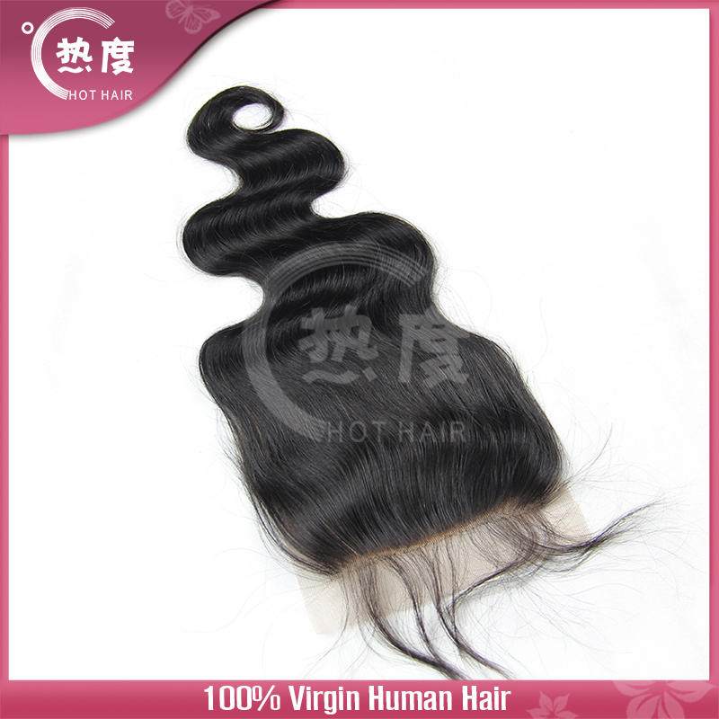 Top Closure 4''x4'' Brazilian Hair body wave Hand Tied Free Parted Lace Closure(China (Mainland))