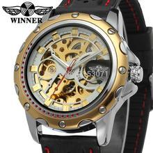 Reloj de hombre 2015 ganador esquelético del reloj con el oro barras de color índice negro banda de silicona envío gratis con caja de regalo WRG8027M3T7