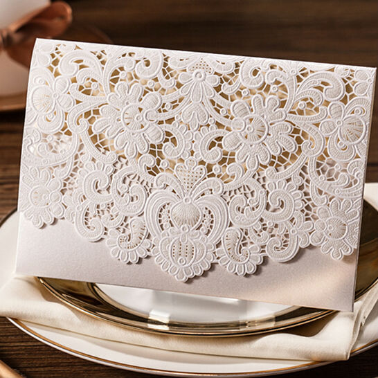 New 10pcs/lot White Happy Wedding Party Laser Cut Invitation Cards And Wedding Invitation Wholesale Free Shipping(China (Mainland))
