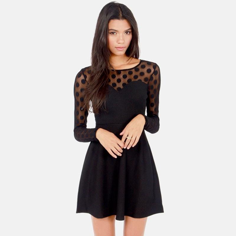 Black polka dot mesh skater dress