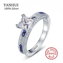 YANHUI Luxury 925 Solid Silver Sona CZ Diamond Anniversary Wedding Rings For Women Fine Jewelry Sapphire Engagement Ring JZR129(China (Mainland))