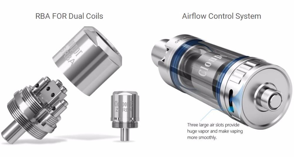 ถูก Vapeเครื่องฉีดน้ำบุหรี่อิเล็กทรอนิกส์กล่องสมัยRBAถังCloupor Z5ถังบุหรี่อิเล็กทรอนิกส์Eมอระกู่สเปรย์ควันขนาดใหญ่ถังX1073