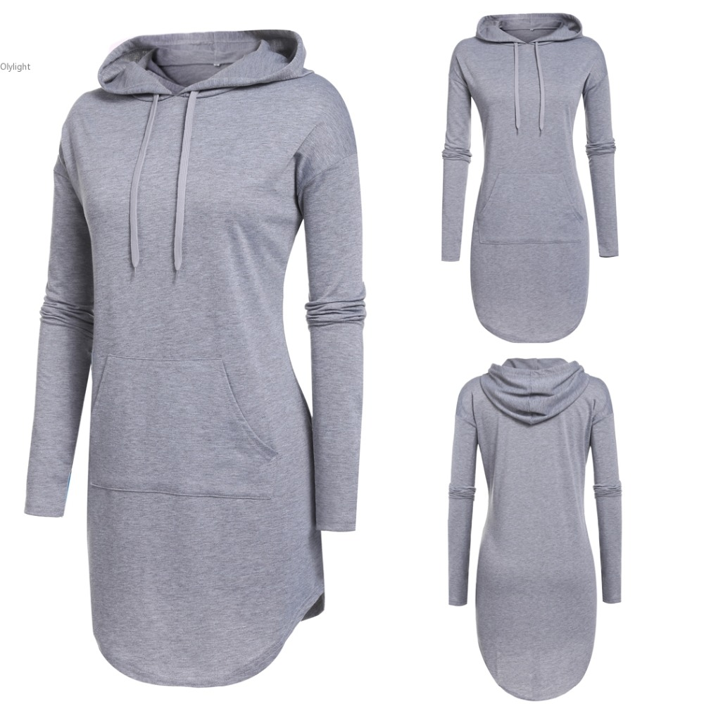 Women Dress long sleeve Casual lady Fashion Hoodie girl Blouse Slim Hooded Pullover Dresses Sporting Shirt With Pocket(China (Mainland))