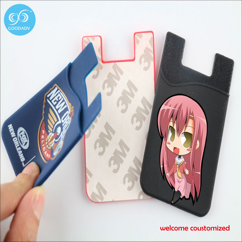 2016 New Fashion Design cell phone card holder /silicone card holder High Quality Credit Card ID Business Card Holder(China (Mainland))