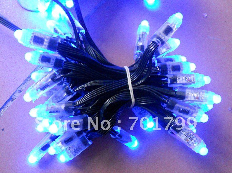 DC12V input WS2801 IP68 led pixel module,256scale gray,IP68;4wire;100pcs string;with black color