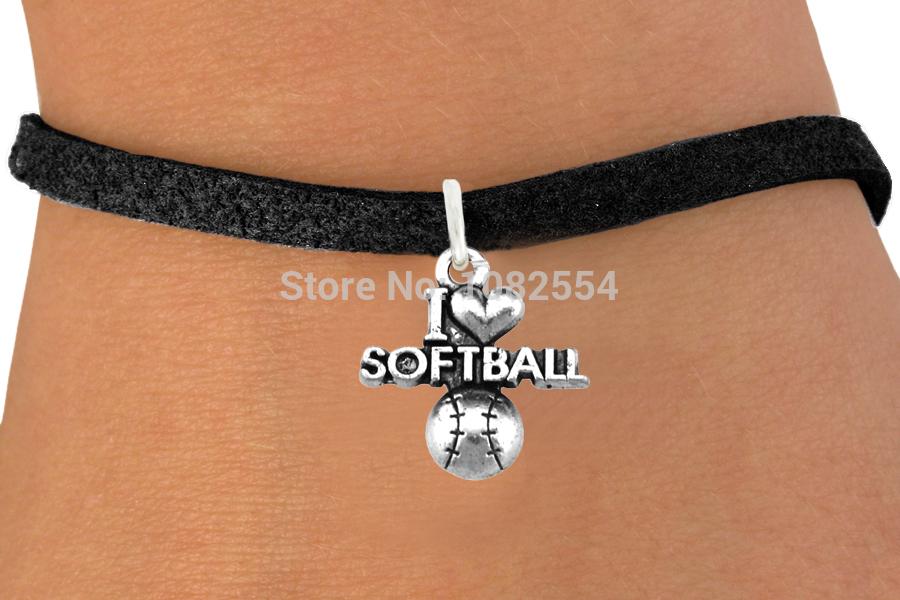 Wholesale Zinc Alloy I Love Softball Messages Charm Hand-Woven Rope Leather Pendant Bracelets(China (Mainland))