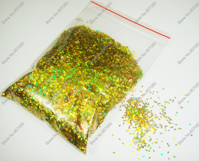 50gram-1mm Laser Holographic Gold Dazzling Diamond Glitter Paillette Spangles Shape for DIY Nail Art Decoration&Glitter Crafts