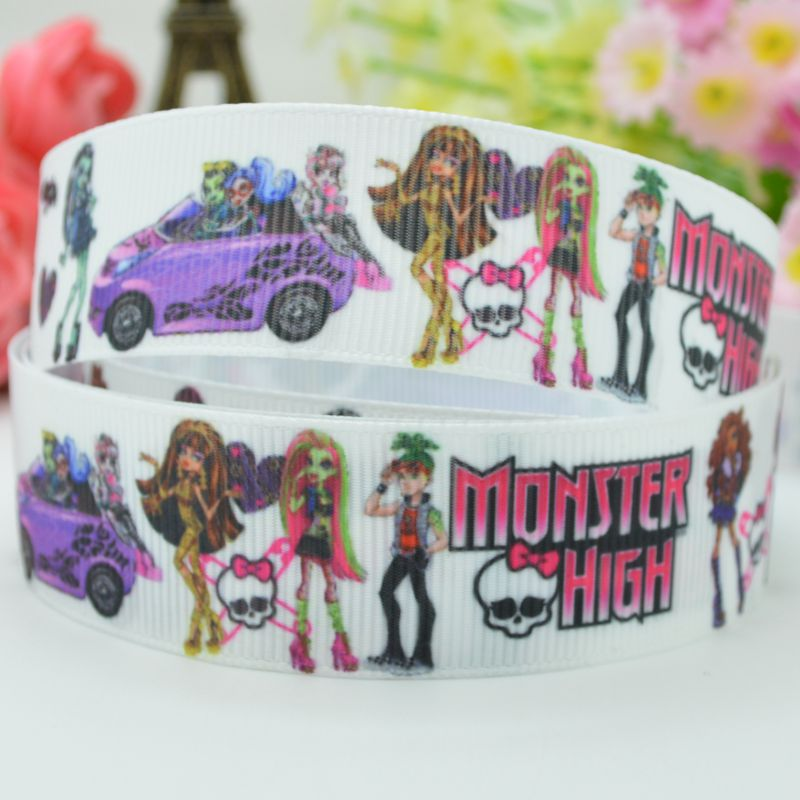Monster high bow material party decoration 22mm baby & kids birthday character cheap printed grosgrain ribbon 50 yard 7/8 roll(China (Mainland))
