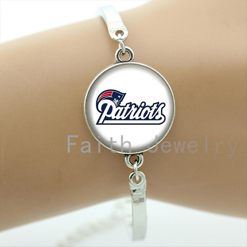 Fashion ball lovers jewelry case for New England Patriots team logo bracelet trendy american football sport bracelets NF017(China (Mainland))