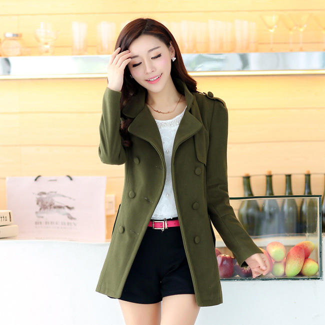 2015 European New Female Autumn and Winter Solid Wool Coat with Double-breasted Women wool coat turn-down collar women blendsОдежда и ак�е��уары<br><br><br>Aliexpress