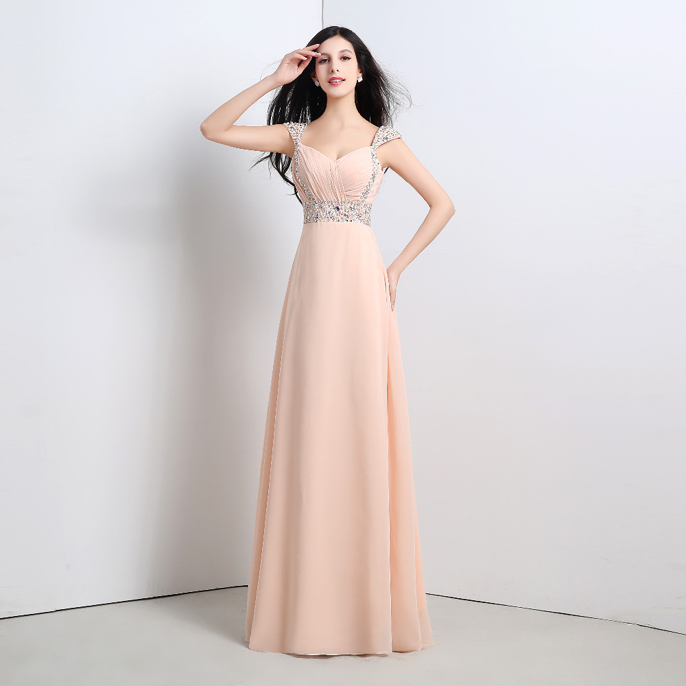 In Stock 2016 Cheap Cap Sleeve Sweetheart Pink Peach Purple Blue Chiffon A Line Long Bridesmaid
