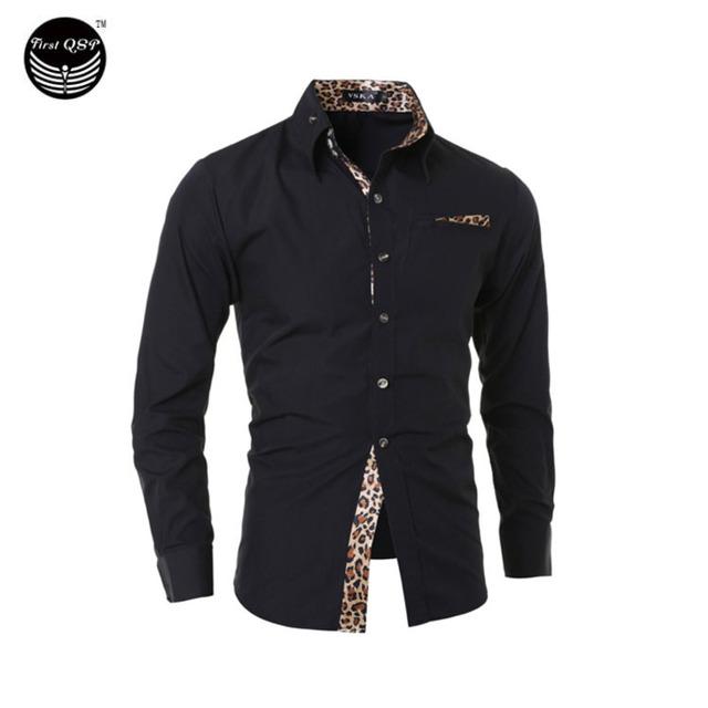 Мужчины рубашку 2016 мода бренд мужской леопарда мужской рубашку с длинными рукавами ...