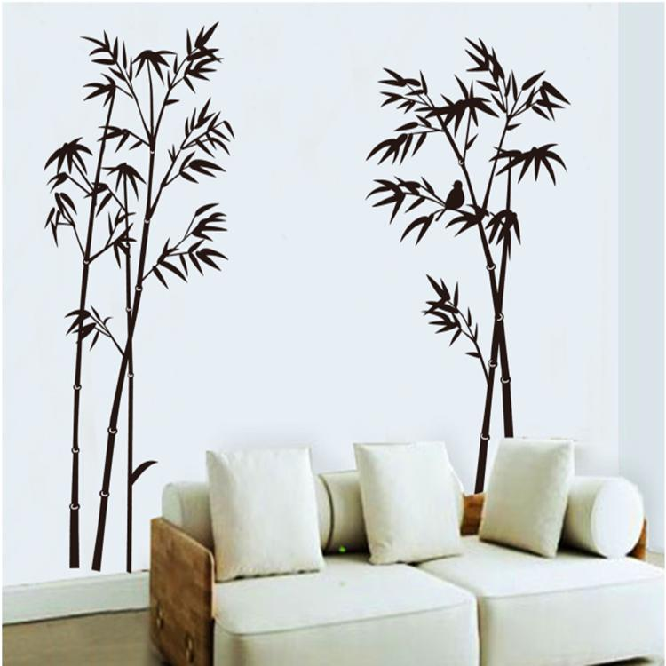 Bamboo and birds living room bedroom sofa vinyl wall for Sticker para decorar dormitorios
