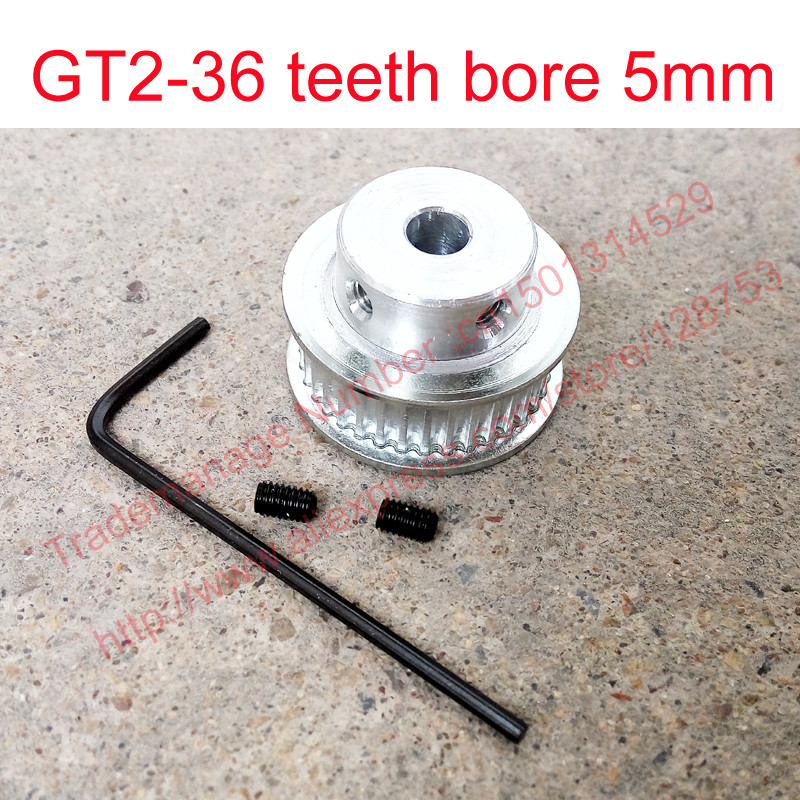 high quality 1pc 36 teeth Bore 5mm GT2 Timing Pulley timing belt pulley fit width 6mm of 2GT timing Belt 3D Free shipping F2C(China (Mainland))