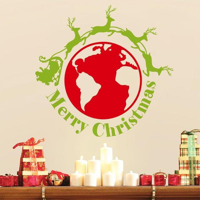 Оленей по всему миру с рождеством христовым детских комнат обои съемный наклейка Xmas12 бесплатная доставка