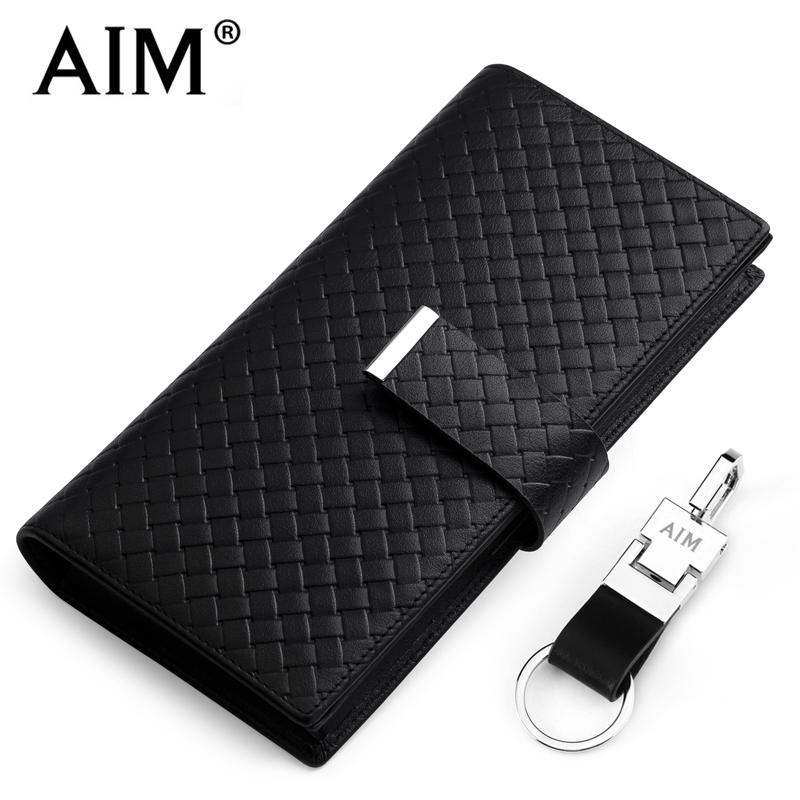 AIM wallet male long leather genuine wallet wallet leather handbag buckle South Korea mobile phone bag<br><br>Aliexpress