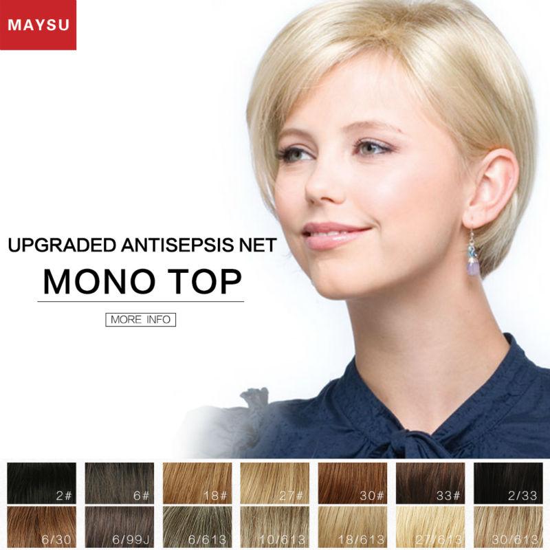 Short Human Hair Wigs For Women Elegant MAYSU Side Parting Classic Brazilian Virgin Hair Blonde wig Capless European Style<br><br>Aliexpress