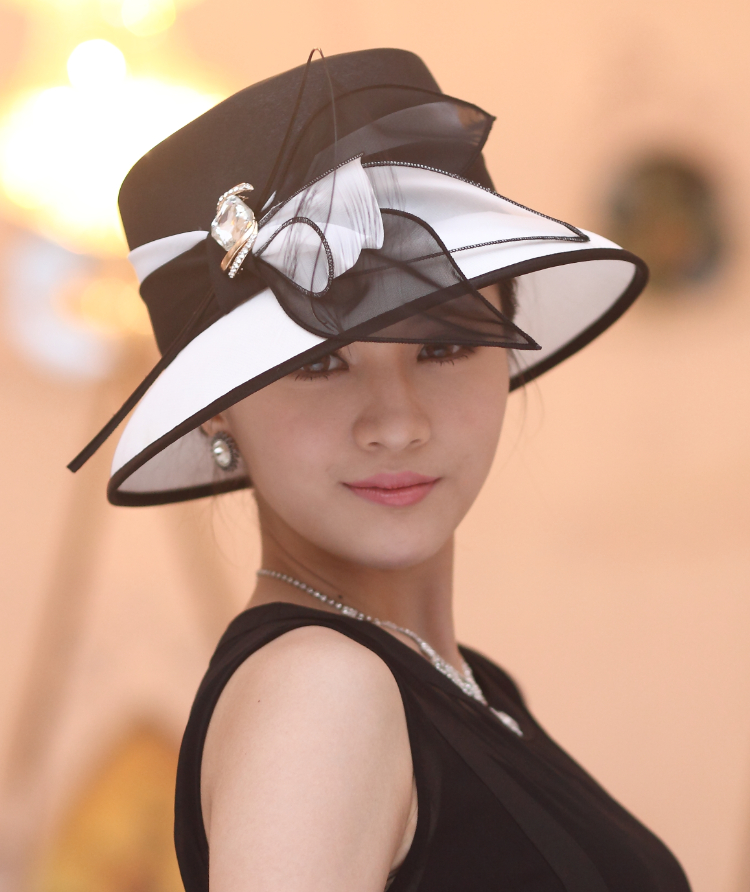 Women Hat Formal Wide Brim Organza Flower Hair Accessories Two Colors - King Ting Millinery Co.,Ltd store