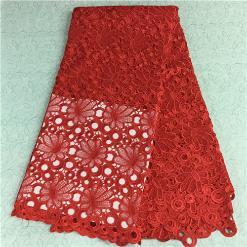 Beautiful red lace high quality african cord lace fabric online,good price african guipure lace in stock 5496-2