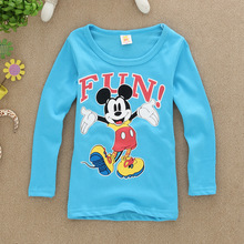2016 spring 2 to 7 years children clothes long sleeves, fashion cartoon comic mickey boys T-shirt clothes children tops clothes