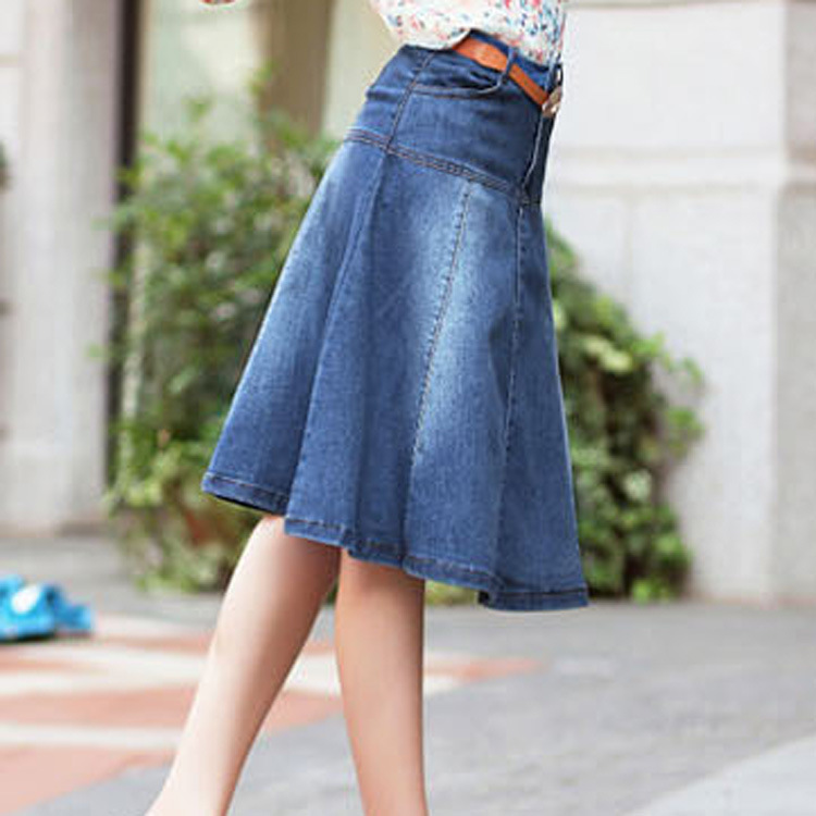 Knee Length Jean Skirts - Skirts