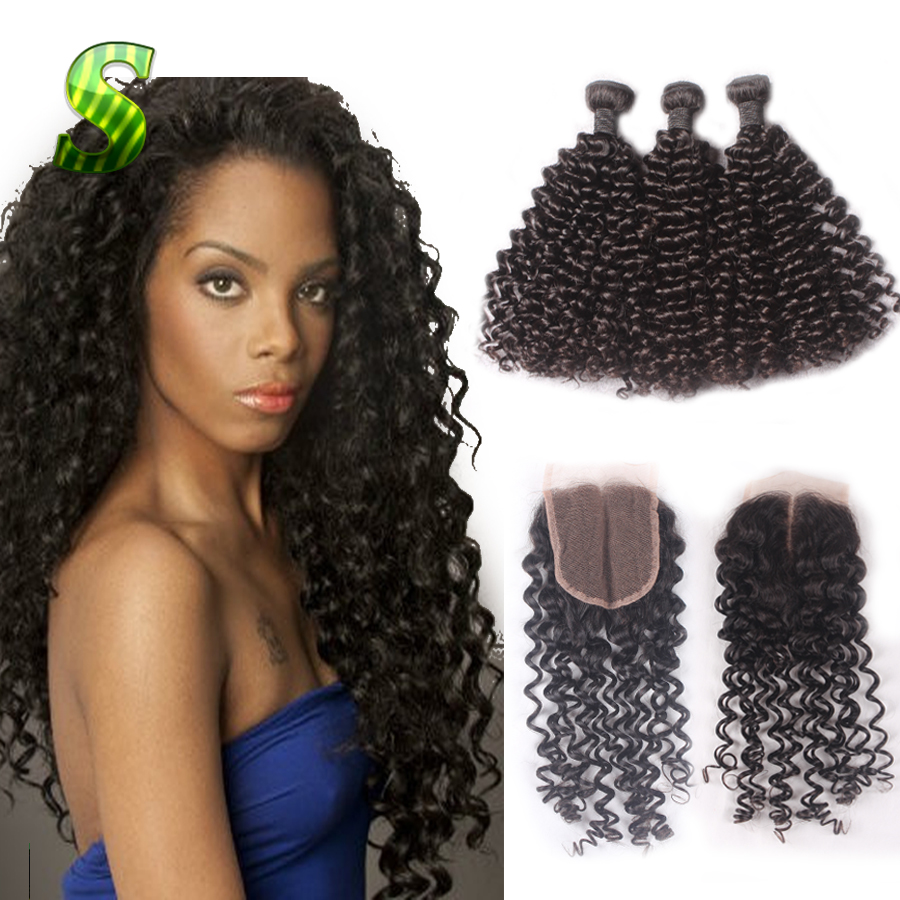 Indian Curly Virgin Hair With Closure Wet And Wavy Human Hair With Closure Cheap Human Hair 3 Bundles With Lace Closure FreeShip<br><br>Aliexpress