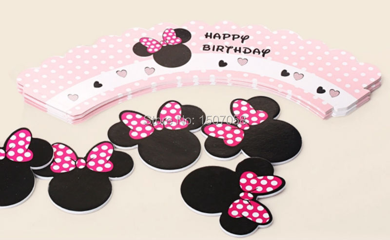 Buy Minnie mouse cupcake wrappers decoration birthday