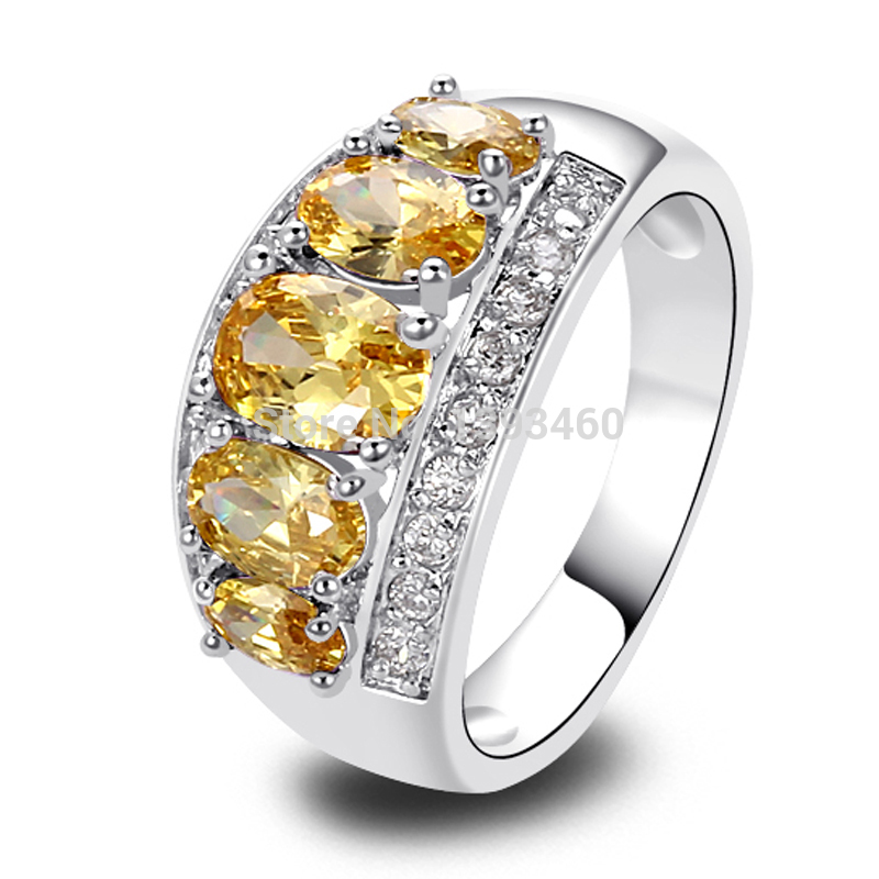 Wholesale Unique Delicate Oval Cut Citrine 925 Silver Ring Size 8 New Fashion Jewelry 2014 Gift For Women(China (Mainland))