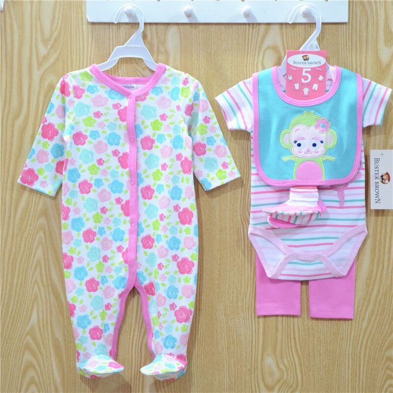 2015 Infants Baby cotton Bodysuits Rompers Boys Girls Bodysuits+pant+Hat+socks=bibs 5pcs Set Cotton Babys Clothing 8colors #3867<br><br>Aliexpress