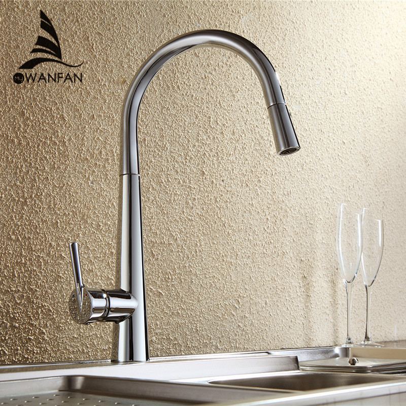 Free Shipping new Brass Pull Out Sprayer Kitchen Sink Faucet Swivel Spout Mixer Tap LK-9906(China (Mainland))
