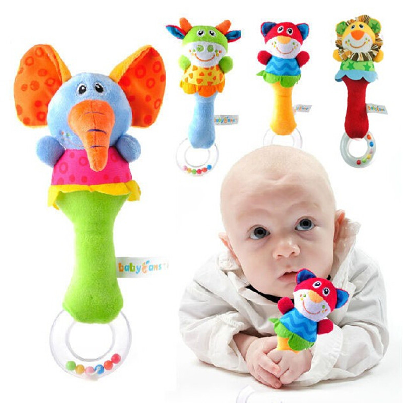 Registered Air Mail Promotion Hot 15 Designs Soft toys Animal Model Handbells Rattles ZOO Squeeze Me Rattle Baby Educational toy(China (Mainland))