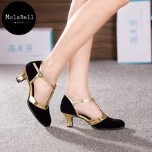 6 colores oro y plata para adultos de tacón medio américa moderno danza calzado mujer de baile de salón de baile suave cómodo(China (Mainland))