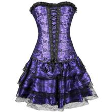 10pcs/lot Sexy Underbust Corset And Bustier Lace Evening Women Casual Dress Plus Size Push Up Gothic Corset Dress With Skirt