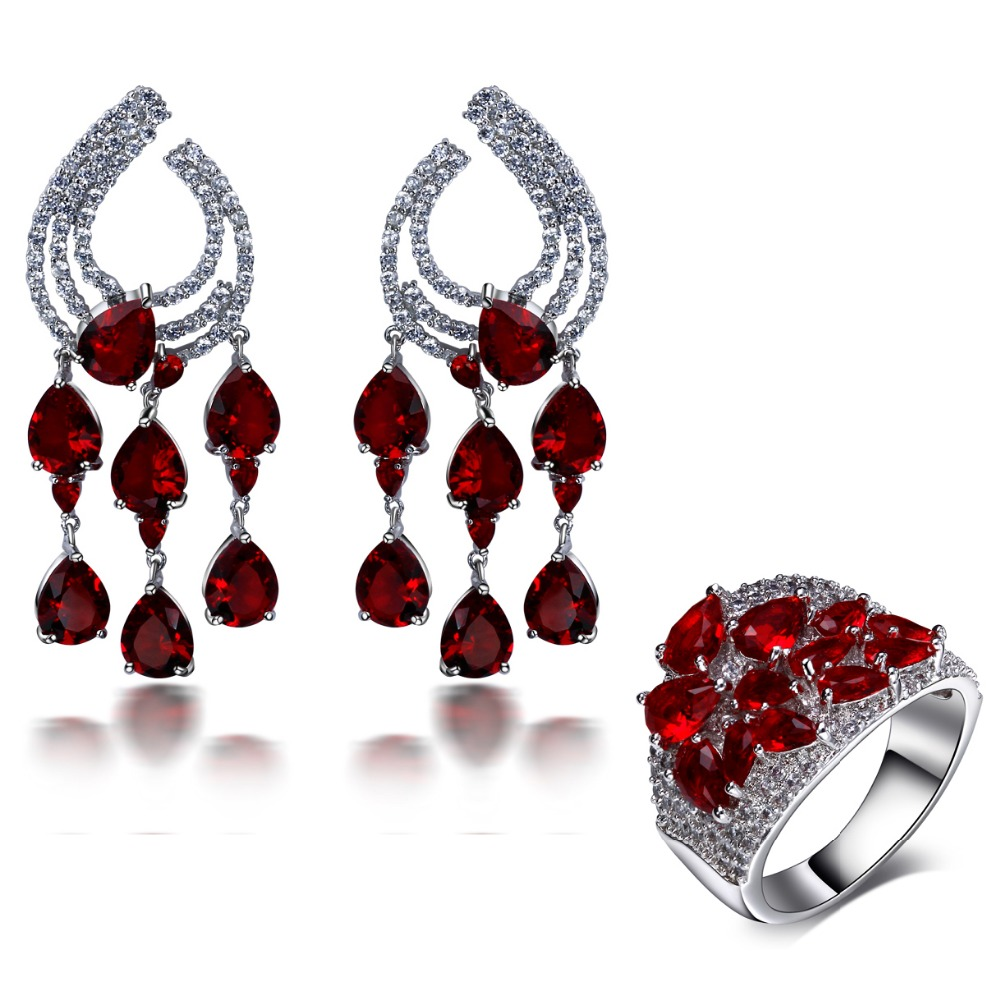 2016 New Wedding party Accessories Wedding Jewelry Sets siam red water drop stone Earrings with ring sets(China (Mainland))