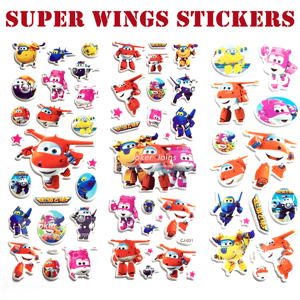 Super Deal ! Super Wings Stickers 17*21cm Planes Stickers Airplane Robot Action Figures Transformation Toys Birthday Gift 3Pcs(China (Mainland))