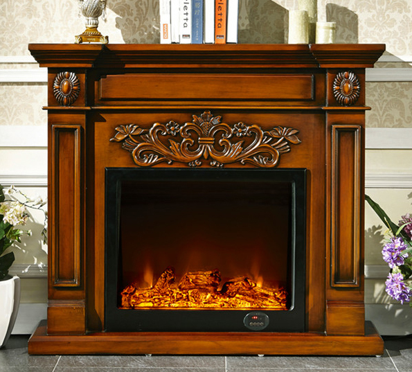 Wood fireplace mantel with electric fireplace insert in - Fotos de chimeneas rusticas ...