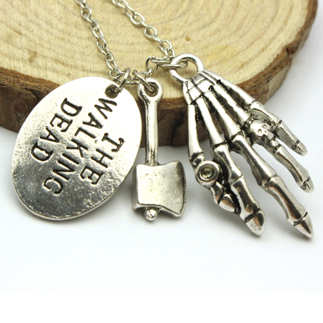 The Walking Dead Vintage Necklace With Axe and Skeleton Paw Charms
