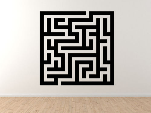 Square Maze - Rectangular Puzzle Labyrinth Path Finding - Vinyl Wall Decal Art Free Shipping(China (Mainland))