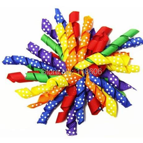 50pcs Rainbow Polka Dots Curly Ribbon Korker Hair Bow Clip Free Shipping(China (Mainland))