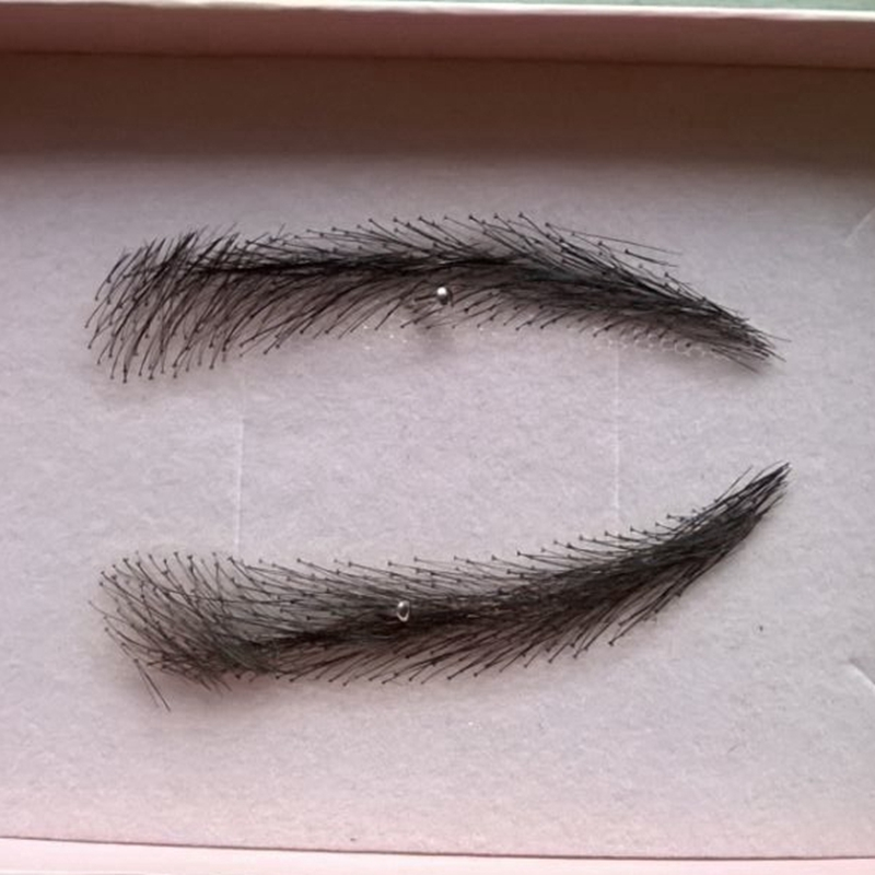 A pair of Hand Made Human Hair Eyebrow Fake Eyebrow 003 Light Brown Color Handmade Swiss Lace Invisible Reality Eyebrow<br><br>Aliexpress