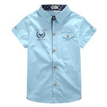 2016children's summer clothing male child short-sleeve shirt 100% cotton short-sleeve shirt handsome boy