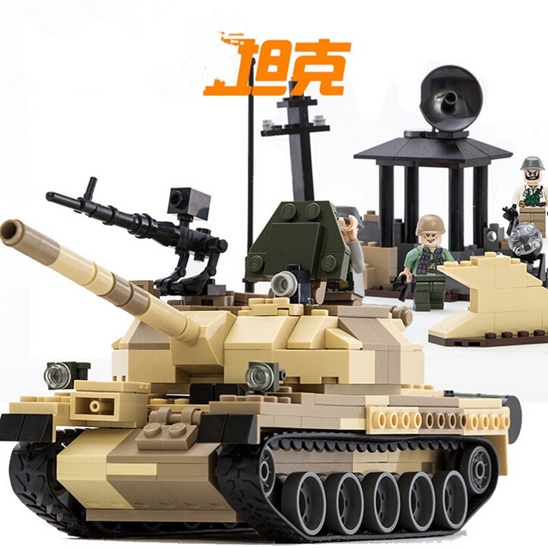 600019A Toys For Children Blocks Assembled Military War Military Vehicle Tank Plain Blocks Plastic Building Blocks(China (Mainland))
