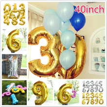 40 inch Number Foil Balloons gold sliver Air Digit Balloon Kids Birthday Party Banner Wedding Decorations Ballon Party Supplies