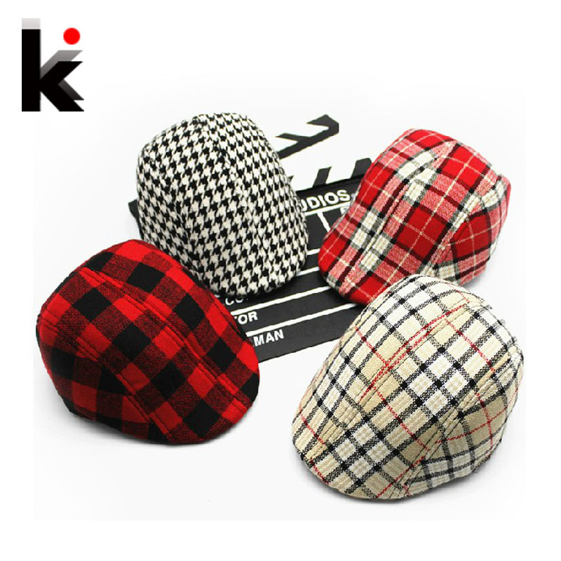 Free shopping 2015 Spring and Autumn Kids Fashion Berets Plaid Hats For Baby Boy And Girl Hat And Cap 15 Colors(China (Mainland))