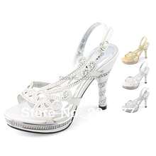 SHOEZY 2014 New Ladies Silver White Gold Totem Strappy Diamante Wedding shoes heels Dress Slingback High Heels Sandals Shoes(China (Mainland))
