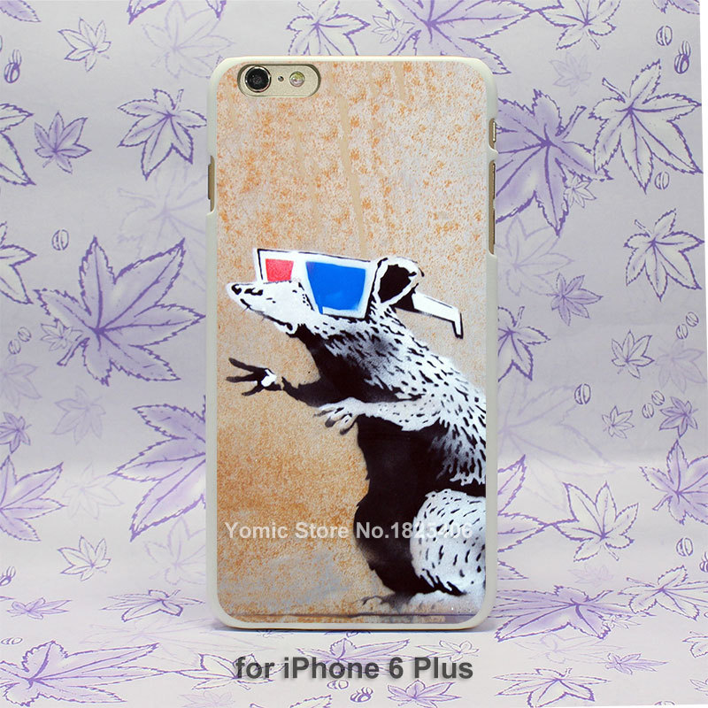 Graffiti rat wearing glasses the artist Banksy Pattern hard White Skin Case Cover for iPhone 4 4s 4g 5 5s 5c 6 6s 6 Plus(China (Mainland))