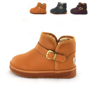Free Ship Toddler Little Kids Snow Boots Boy Girl Genuine Leather Warm Cow muscle Out-sole Baby Winter Shoes - Brand Online Store 835779 store