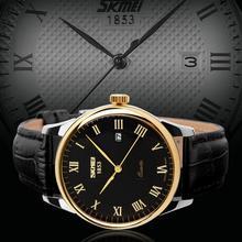 2015 nuevos relojes hombres Luxury Brand reloj de cuarzo hombres de negocios de los relojes de pulsera correa de cuero de cocodrilo impermeable 30 M elegante Casual