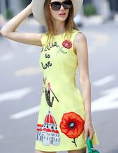 2016 Summer Runway Designer Dress Women's Sleeveless Letter Cute Cartoon Embroidery Beading Flower Appliques Back Button Dress(China (Mainland))